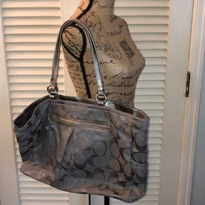 Coach Gray/silver large nylon tote bag
